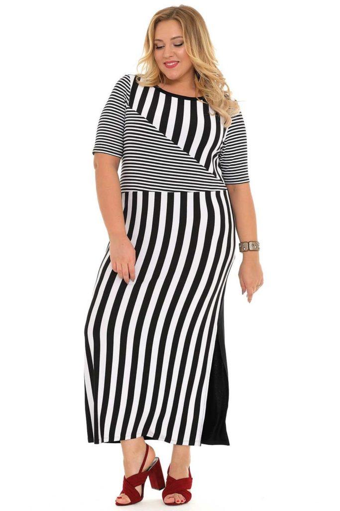 платье в полоску на полной женщине