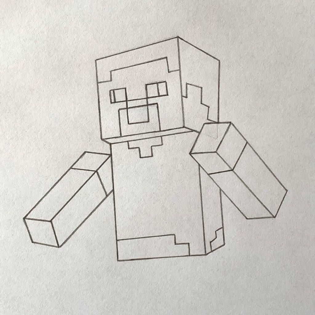 как нарисовать человечка из майнкрафта